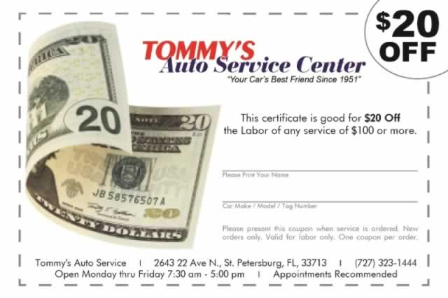 Save on Auto Repair with Tommy's Twenty